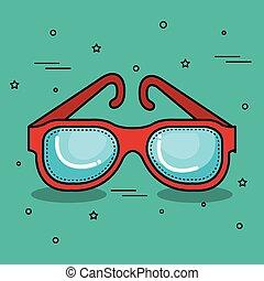 desenho, coloridos, óculos