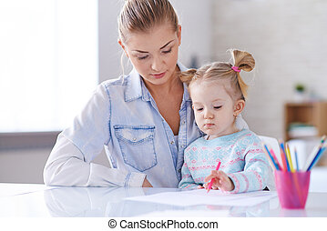 desenho, com, filha