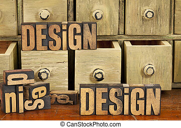 desenho, conceito, em, madeira, tipo