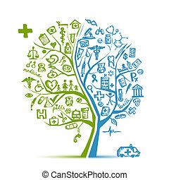 desenho, conceito médico, árvore, seu