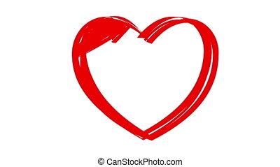 """desenho, coração, com, """"love, you"""""""