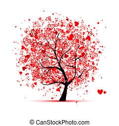 desenho, corações, árvore, seu, valentine