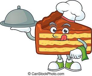 desenho, cozinheiro, chocolate, bandeja, caricatura, fatia, bolo, chapéu