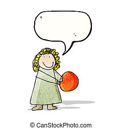 desenho criança, de, um, mulher, com, bola