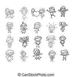 desenho, crianças, caricatura, mão, feliz