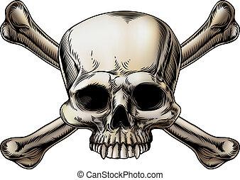 desenho, crossbones crânio