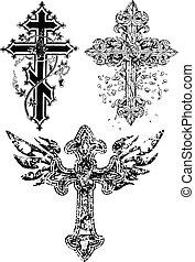 desenho, crucifixos