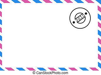 desenho, de, a, antigas, postal, envelope