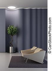desenho, de, a, lounge, sala, com, ondulado, parede