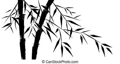 desenho, de, chinês, árvores bambu