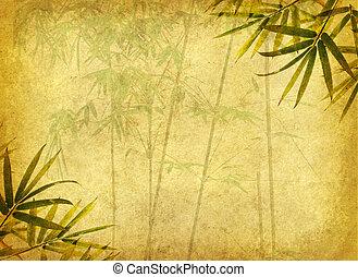 desenho, de, chinês, árvores bambu, com, textura, de, papel...