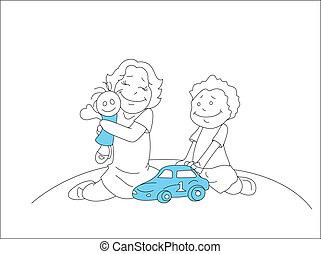 desenho, de, crianças, jogar brinquedos