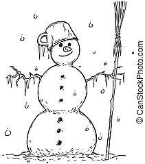 desenho, de, sorrindo, boneco neve, com, vassoura, e, pote