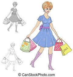 desenho, de, um, mulher, com, shopping
