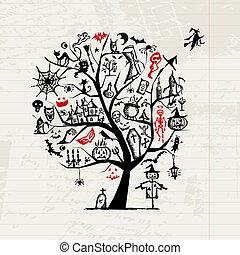 desenho, dia das bruxas, árvore, seu