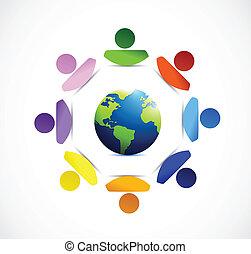 desenho, diversidade, ao redor, ilustração, globe.