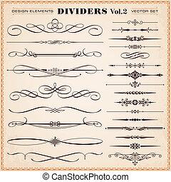 desenho, divisores, elementos, traços