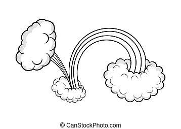 desenho, efeito, nuvem, estouro