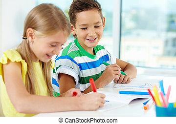 desenho, em, lição