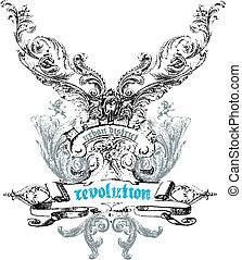 desenho, emblema, crista
