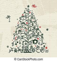 desenho, esboço, árvore, seu, natal