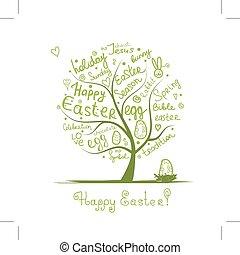 desenho, esboço, árvore, seu, páscoa