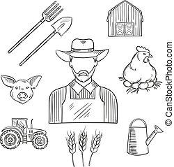 desenho, esboço, agricultura, profissão, agricultor