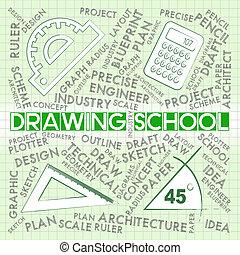 desenho, escola, mostra, desenho, educação, e, aprendizagem