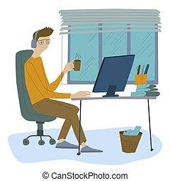 desenho, escritório, homem, trabalhos, apartamento, illustration., trabalho, programador, homem negócios, workplace., vetorial, computador