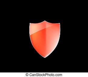 desenho, escudo, vetorial, proteção, element., lustroso