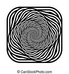 desenho espiral, fundo, monocromático, ilusão, movimento