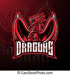 desenho, esport, logotipo, mascote, dragão