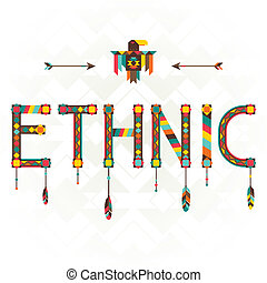 desenho, ethnic., ornament., palavra