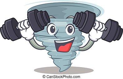 desenho, exercício aptidão, mascote, sorrindo, elevador, tornado, cima, barbells