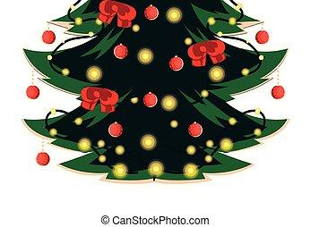 desenho, feliz, vetorial, árvore, pinho, natal
