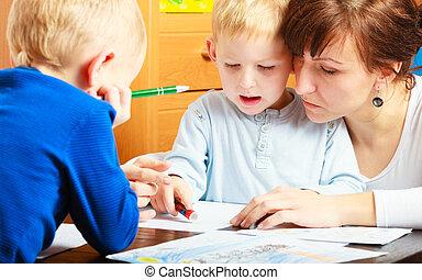 desenho, filhos, crianças, junto, mãe