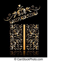 desenho, floral, presente, aberta, caixa, stylized, ornamento