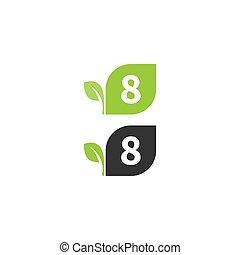 desenho, folha, 8, logotipo, número, conceito, ícone