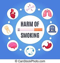 desenho, fumar, conceito, dano