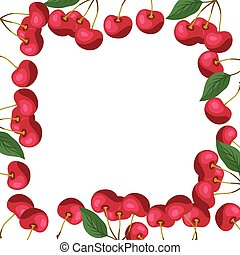 desenho, fundo, cherries., natureza