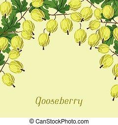 desenho, fundo, gooseberries., natureza