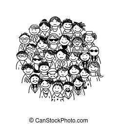 desenho, grupo, seu, pessoas