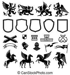 desenho, heraldic, elementos, animais, escudos