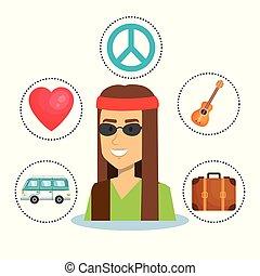 desenho, hippie, pessoas