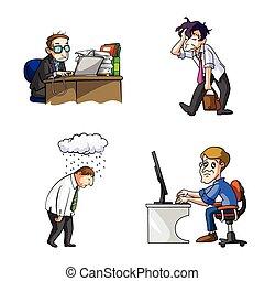 desenho, ilustração, cansadas