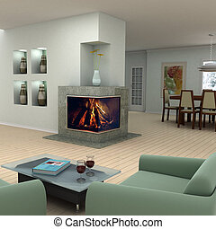 desenho, interior lar