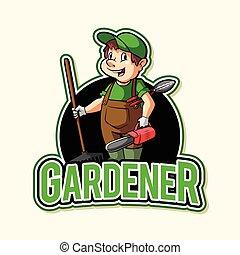 desenho, jardineiro, ilustração