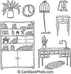 desenho, jogo, -, elementos, mobília