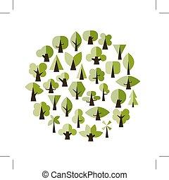 desenho, jogo, verde, seu, árvores