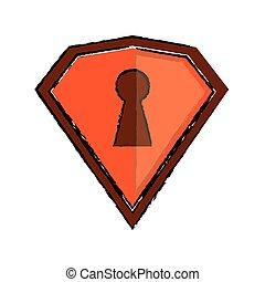 desenho, laranja, escudo, proteção, segurança, tecnologia